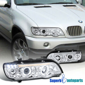 For 2001 2003 Bmw X5 Dual Halo Projector Headlights W Led Lamps Replacement