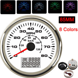 85mm Gps Digital Speedometer Odometer Gauge 80mph 120km H For Car Truck Marine