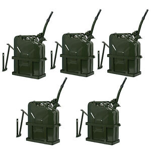 5pcs 20l Gasoline Gal Gas Fuel Jerry Can Emergency Backup Gas Caddy Tank Holder