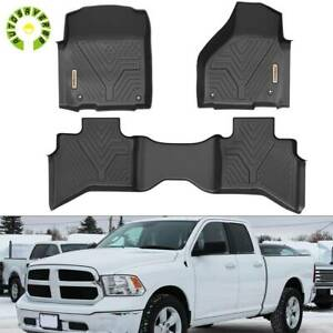 Floor Mats Liners For 2013 2019 Dodge Ram 1500 Quad Cab Cab All Weather Rubber