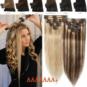 CLEARANCE Clip In 100% Real Remy Human Hair Extensions BalayageOmbre Full Head $11.40