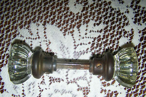 Vintage 12 Point Crystal Glass Door Knob Set W Brass Spindle And Glass Rosette