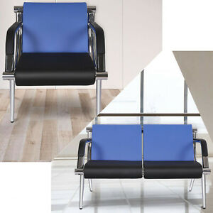 Business Reception Guest Waiting Room Chair Pu Leather Visitor Sofa Seat Blue