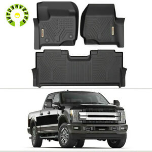 All Weather Floor Mats Liners For 2017 2020 Ford F 250 Super Duty Crew Cab Black