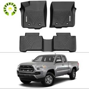 All Weather Floor Mats Liners For 18 21 Toyota Tacoma Crew Cab Black Waterproof