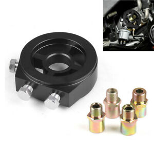 Car Oil Filter Temp Pressure Cooler Gauge Sandwich Plate Adapter Sensor Black