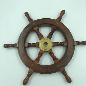Nautical Wood And Brass Ship Steering Wheel Pirate Wall Decor Fishing Boat Gift