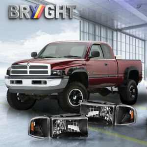 For 94 02 Dodge Ram 1500 2500 3500 Chrome Housing Amber Corner Headlights Lamps