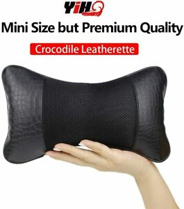 Car Seat Neck Pillow Embossed Crocodile Leatherette Support Head Rest Cushion