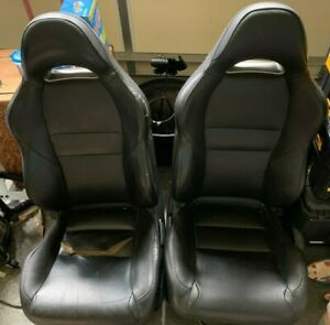 02 03 04 05 06 Acura Rsx Black Leather Bucket Seats Pair Oem Used