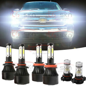 6x 6000k Led Headlights Fog Light Bulb For Chevy Silverado 1500 2500 2007 15
