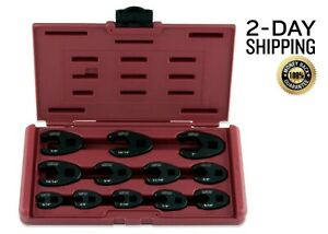 Crowfoot Flare Nut Wrench Set 12pc 3 8 1 2in Drive Auto Maintenance Hard Case