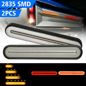 2x 100led Car Truck Drl Led Light Bar Brake Flowing Turn Signal Stop Tail H