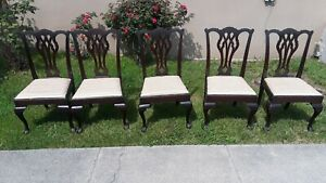 Five Chippendale Style Mahogany Ball And Claw Foot Chairs From Greenbrier Hotel