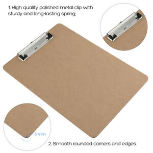 Stobok 6pcs A4 Size Durable Wooden Hardboard Clipboard For Office Meeting