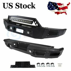 For Ford F 150 09 14 Steel Complete Front Rear Bumper Step Black Led Lights