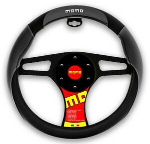 New Momo Black Gray Car Steering Wheel Cover Pu Leather Size M 14 5 15 5