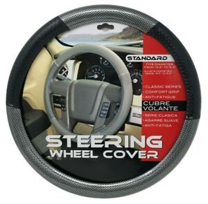 New Back Carbon Fiber Steering Wheel Cover Pu Leather Size M 14 5 15 5
