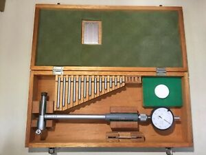Mitutoyo 4 6 5 Inch Bore Gage Anvil Set 511 187 0001 Dial Indicator Wood Case