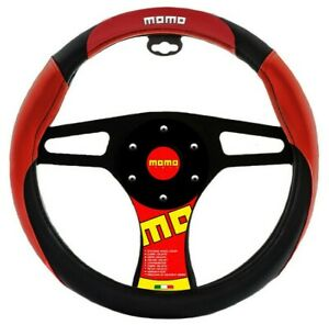 New Momo Red Black Car Steering Wheel Cover Pu Leather Size M 14 5 15 5