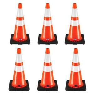 28 Inch Safety Traffic Cones Fluorescent Orange Reflective Collar 6 Pcs set
