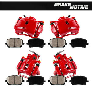 Front Rear Red Brake Calipers Pads For 2008 2009 2010 Honda Accord