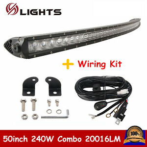 50 240w Single Row Cree Curved Led Light Bar Off road 4wd Boat Ford Wiring Kit