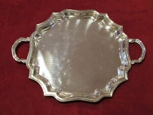Large 15 Round 21 Handle To Handle Silver Plated Serving Tray Platter