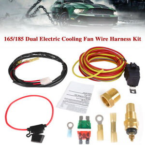 Dual Electric Cooling Fan Thermostat Relay Kit 165 185 Temperature Sensor Switch