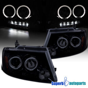 For 2004 2008 Ford F150 Led Halo Rims Smokey Projector Headlights Glossy Black