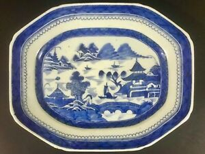 Large Chinese Qianlong Period Export Blue White Octagon Porcelain Plate
