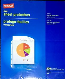 Staples Sheet Page Protectors Top Loading 200 Count New Sealed Box Free Shipping
