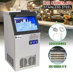 110lbs Commercial Ice Cube Maker Machine 60kg Auto Stainless Steel For Bar 50kg