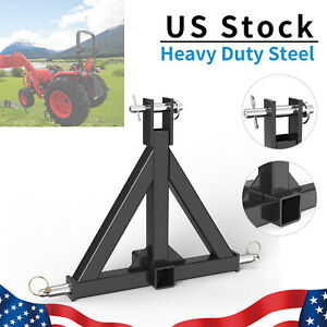 3 Point 2 Trailer Hitch Receiver Tow Drawbar Heavy Duty Steel For Cat 1 Tractor