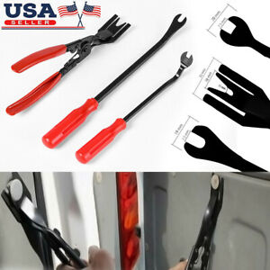 3pc Car Trim Clip Upholstery Removal Tool Door Panel Fastener Pin Pliers Puller