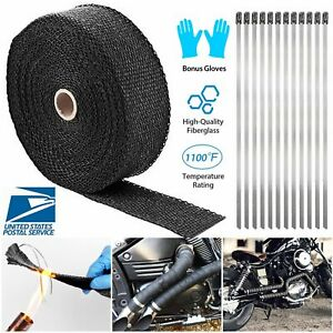 2 50ft Roll Fiberglass Exhaust Header Pipe Heat Wrap Tape Black 20 Ties Kit