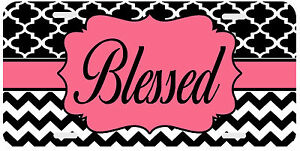 Personalized Monogrammed License Plate Auto Car Tag Chevron Blessed