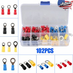 102pcs Assorted Insulated Ring Crimp Terminals Electrical Wire Connector Kits