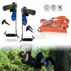 Tree Climbing Spike Spurs Safety Belt Straps Rope Adjustable Stainless Steel New