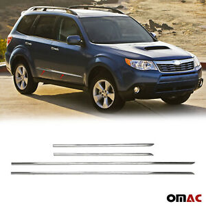 Chrome Side Door Streamer Guard S steel 4 Pcs For Subaru Forester 2009 2013