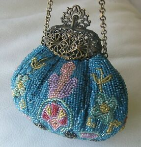 Antique Gold Tone Filigree Frame Teal Blue Pink Green Yellow Bead Puffy Purse