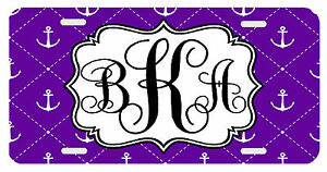 Personalized Monogrammed License Plate Auto Car Tag Anchor Purple