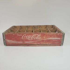Vintage 1970's Coca Cola Soda Bottle Crate 24 Sections Coke Red White Lettering