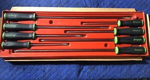 Snap On 8 Piece Extra Long Green Hi Vis Handle Soft Grip Screwdriver Set In Tray