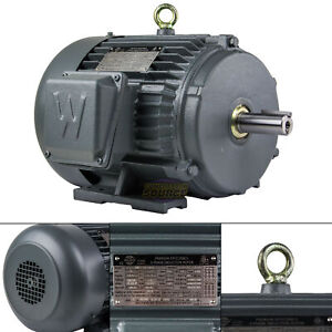 5 Hp 3 Phase Electric Motor 3600 Rpm 184t Frame Tefc 230 460 Volt Severe Duty