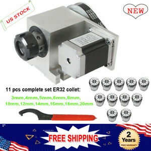 4th A Rotary Axis 57 6 1 Stepper Motor 11pcs Er32 Collet Cnc Milling Engraver