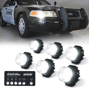 Xprite 6pcs Led Strobe Lights Hide A Way Emergency Warning Headlight Mount White