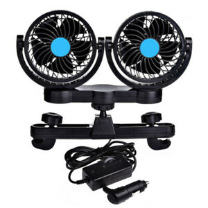 Car Rear Seat Headrest Fan 360 Degree Rotatable 12v Dual Head Cooling Fan