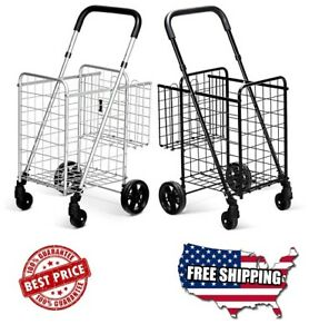 Best Grocery Utility Shopping Cart Deluxe Folding Cart With Double Basket