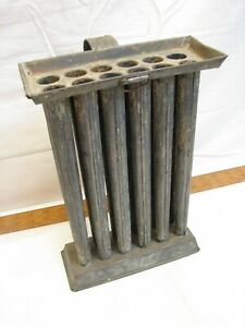 Primitive 12 Hole Cavity Tube Taper Colonial Tin Candle Mold Maker Antique Decor